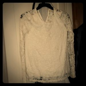 Long sleeved lace Top with key hole backing